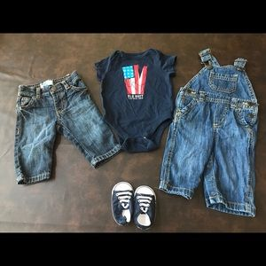 3-6 months Old Navy overalls, jeans & onesie